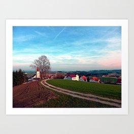 Hiking into springtime scenery | landscape photography Art Print