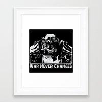 fallout 3 Framed Art Prints featuring Fallout 3 War Never Changes by Krakenspirit
