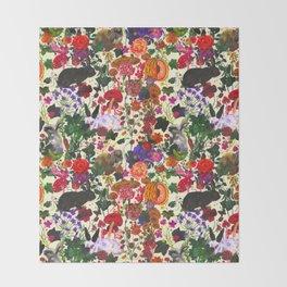 Vintage Butterfly Rabbit Garden Floral Watercolor Throw Blanket