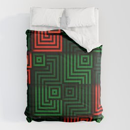 Red and green tiles with op art squares and corners Comforters