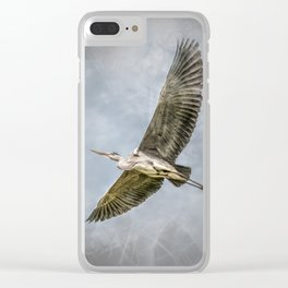 Heron in flight Clear iPhone Case
