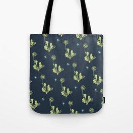 Spider Daisies (green + navy) Tote Bag