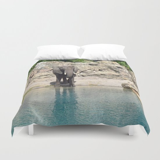 Elephant on the Water Duvet Cover