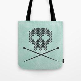 Knitted Skull / Knitting with Attitude (black on vintage aquamarine) Tote Bag
