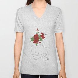 Minimal Line Art Woman with Hibiscus Unisex V-Neck