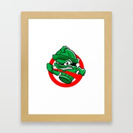 Cartoon Green trash can Framed Art Print