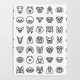 CUTE DOGS / PUPPIES PATTERN Poster
