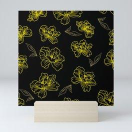 Neon Yellow and Black Floral Pattern Mini Art Print