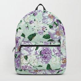 Vintage pastel green lavender watercolor floral roses Backpack