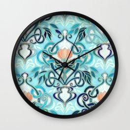 Ocean Aqua Art Nouveau Pattern with Peach Flowers Wall Clock