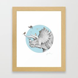 Triceratops and Birdies Framed Art Print