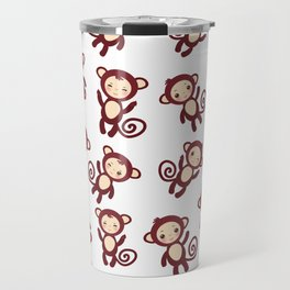 pattern with funny brown monkey boys and girls on white background. Vector illustration Travel Mug