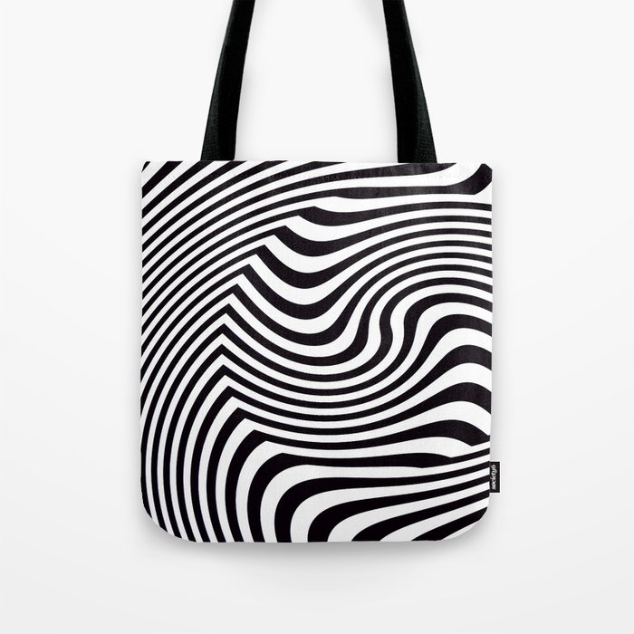 Black and White Pop Art Optical Illusion Tote Bag