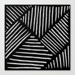 Lines and Patterns in Black and White Brush Canvas Print