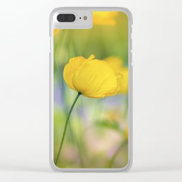 Yellow Poppy Flower Clear iPhone Case