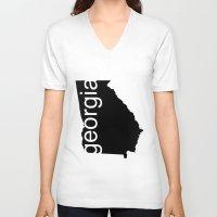 georgia V-neck T-shirts featuring Georgia by Isabel Moreno-Garcia