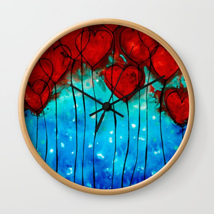 Hearts On Fire - Romantic Art By Sharon Cummings Wall Clock