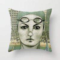 swim Throw Pillows featuring SWIM by Camila Fernandez