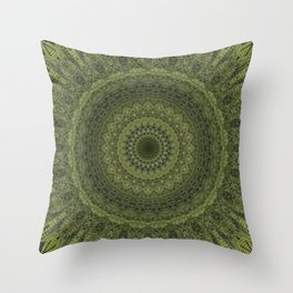 Green mandala with hern ornaments. Throw Pillow