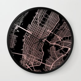 New York City Map - Rose Gold Wall Clock