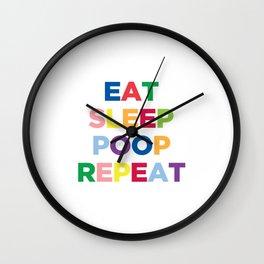 Eat Sleep Poop Repeat - Nursery Art Wall Clock