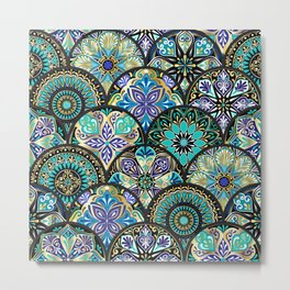 Colorful floral seamless pattern from circles with mandala in patchwork boho chic style Metal Print