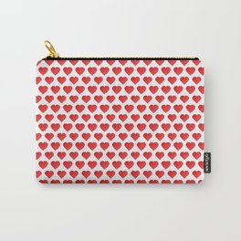 Pixelated Red Hearts Carry-All Pouch