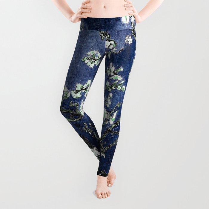Vincent Van Gogh Almond Blossoms Dark Blue Leggings