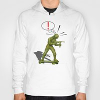 skateboard Hoodies featuring Soldier skateboard by Tony Vazquez