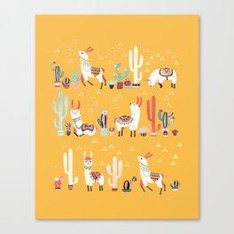 Happy llama with cactus in a pot Leinwanddruck