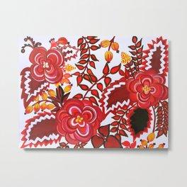 Red And Black Floral Gouache & Acrylic Slavic Folk Art Metal Print