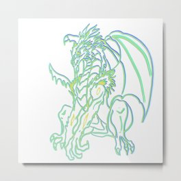 Triple neon glow Dragon Metal Print
