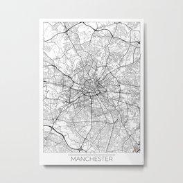 Manchester Map White Metal Print