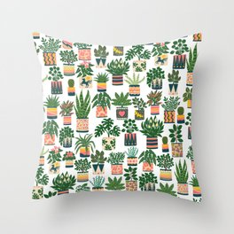 Houseplant Pattern Throw Pillow