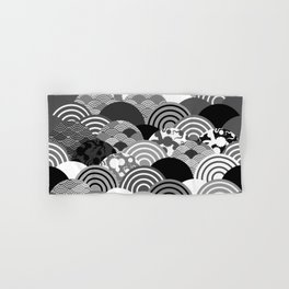 Nature background with japanese sakura flower, Cherry, wave circle Black gray white colors Hand & Bath Towel