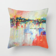 on the water,  expressive landscape, abstract Throw Pillow