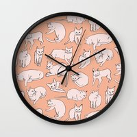 picasso Wall Clocks featuring Picasso Cats by leah reena goren