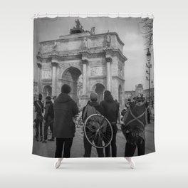 Cyclists, Le Louvre, Paris Shower Curtain