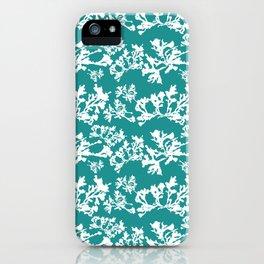 Turquoise Seaweed Pattern iPhone Case