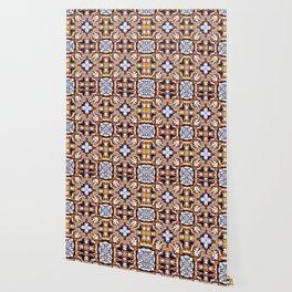 Portuguese Tiles Azulejos Blue Orange Pattern Wallpaper