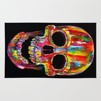 skull Area & Throw Rugs featuring Chromatic Skull by John Filipe