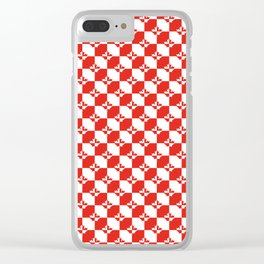 Small Red and White Canadian Maple Leaf Chess Board Clear iPhone Case