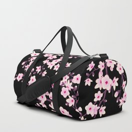 Cherry Blossoms Pink Black Duffle Bag