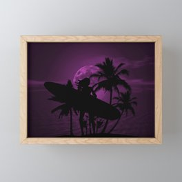 Purple Dusk with Surfergirl in Black Silhouette with Longboard Framed Mini Art Print