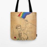 propaganda Tote Bags featuring Putin Propaganda by Cisternas