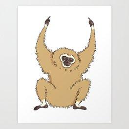 Two Fucks Gibbon Art Print
