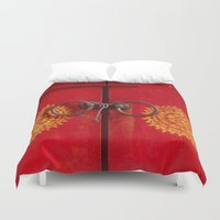buddhism Duvet Covers featuring Temple Door by Maria Heyens