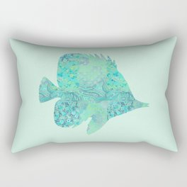 Butterflyfish Buttefly Fish Tropical Fish Vintage Floral Mint Teal Turquoise Blue Rectangular Pillow