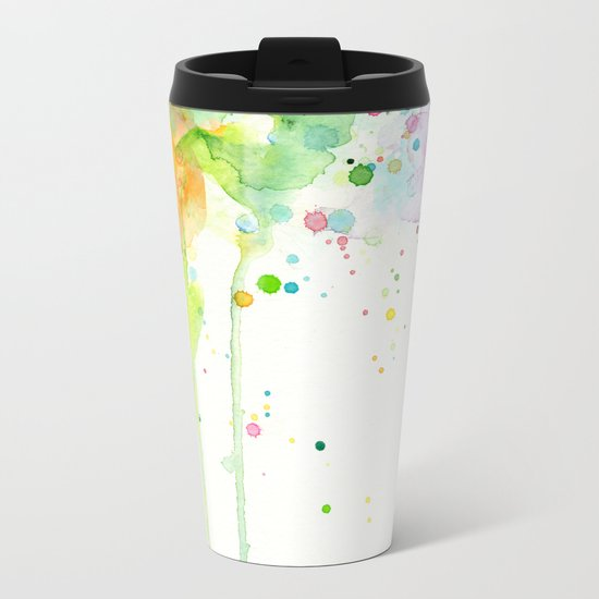 Watercolor Rainbow Splatters Abstract Texture Metal Travel Mug