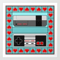 video game Art Prints featuring Video Game Lover : NES by The Geek Inside Me
